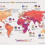Инфографика - уровень счастья в странах на карте мира